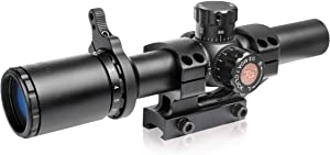 TRUGLO TRU-Brite 30 Series 1-6 X 24mm Dual-Color Illuminated-Reticle Rifle Scope with Mount, Matte Black, 1-6 x 24mm/40mm/30mm (TG8516TL)