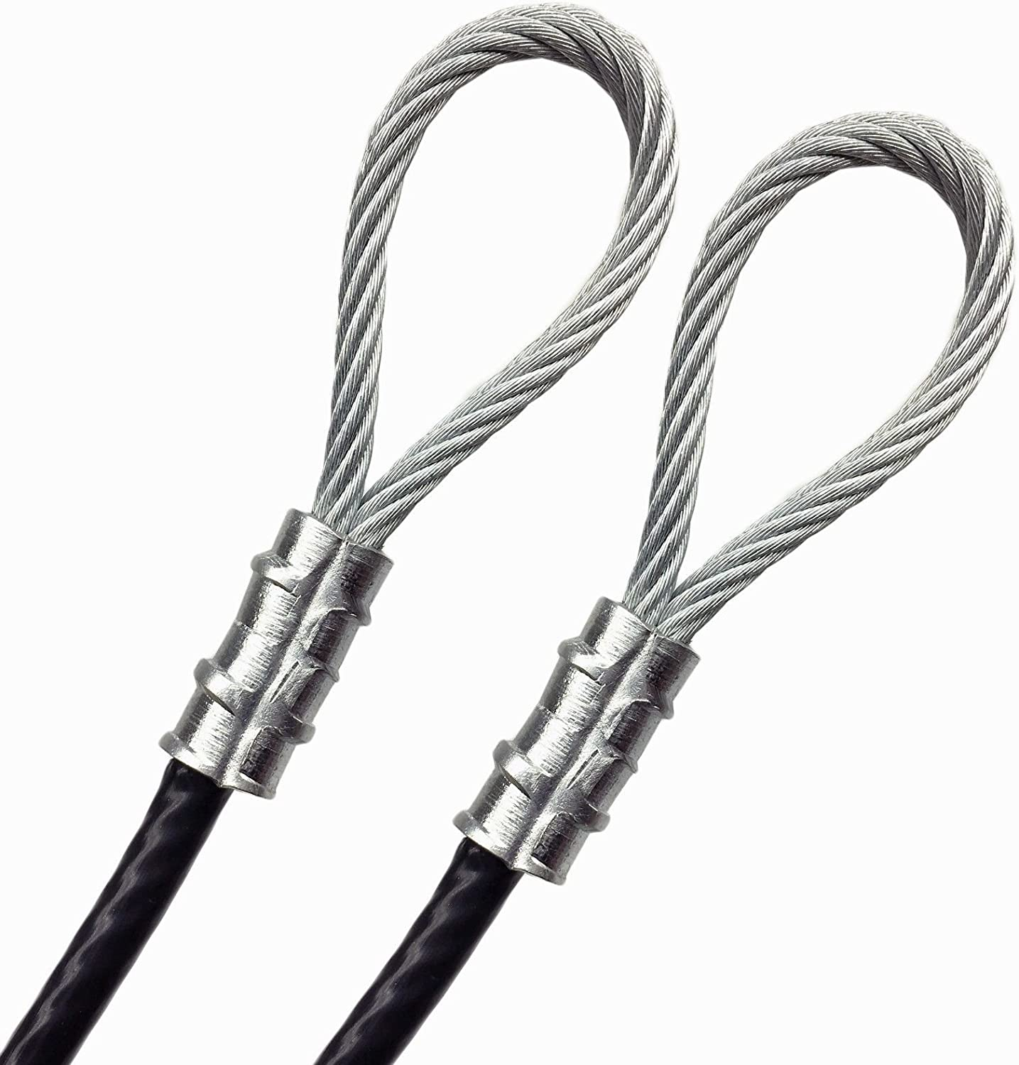 """7x7 Strand 1//16/"""" Core Clothesline Suspension Safety Guide DIY Cable 5 feet, Clear Double Loop with Aluminum Sleeve Custom Cut Galvanized Steel 1//8/"""" Vinyl Coated Indoor Outdoor Wire Rope PSI"""