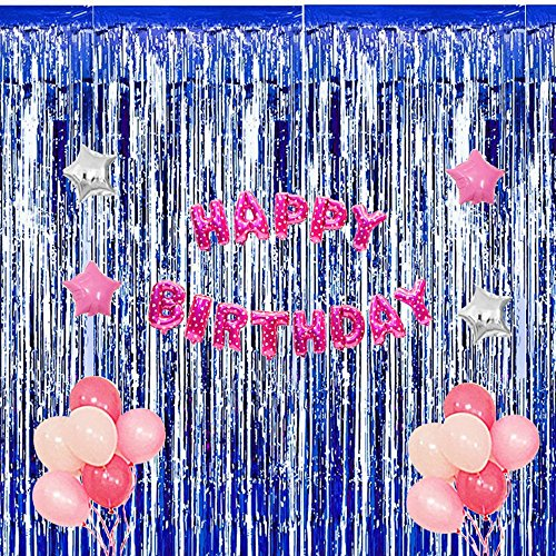Anpatio 4pcs Foil Fringe Curtains Tinsel Metallic Curtains Royal Blue Adhesive Wall Door Streamer Photo Booth Backdrop for Party Wedding Birthday Decoration 3.2 x -