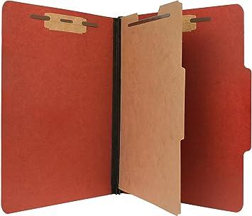 Pendaflex Pressboard Carpeta de archivo de clasificación con cierres metálicos, tamaño carta, 1 separador 4 secciones, 2, expansión, rojo - 10 unidades: ...