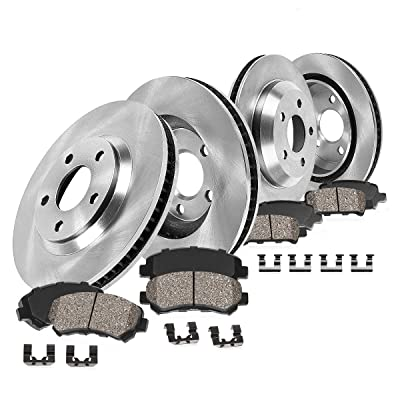 CRK13931 FRONT 320 mm + REAR 324 mm Premium OE 5 Lug [4] Rotors + [8] Quiet Low Dust Ceramic Brake Pads + Hardware: Automotive