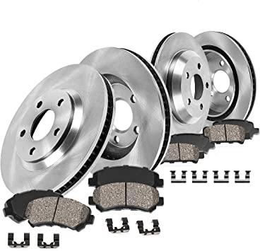 Brake Disc Rotors + 2 FRONT 321 mm Premium OE 5 Lug Ceramic Brake Pads Clips 4