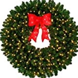 4 foot led christmas wreath with pre lit red bow 48 inch 200