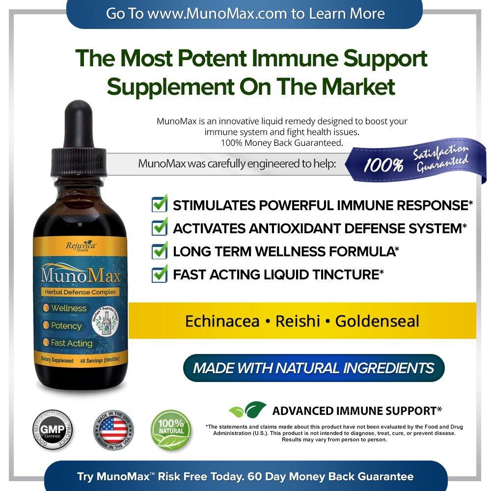 MunoMax – Real Immune Support All-Natural Liquid Formula for 2X Absorption Elderberry, Echinacea, Turmeric More