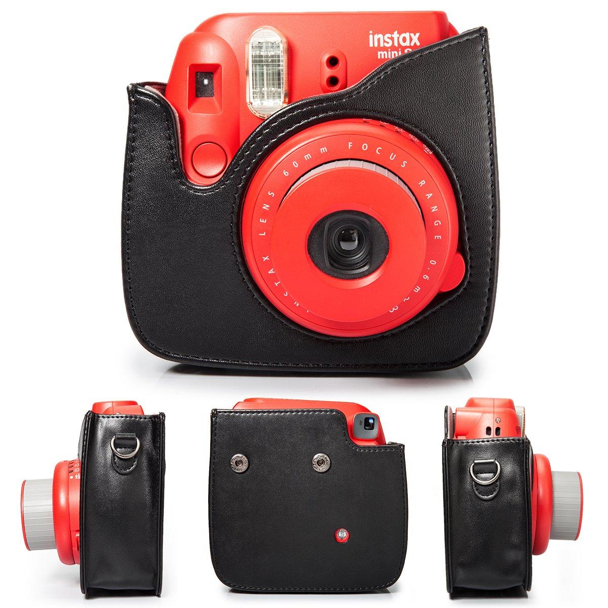 CAIUL Completa Protettiva Camera Custodia con Materiale in Pelle Morbida PU Mini 8 8+ 9 Custodia Nero Emoji