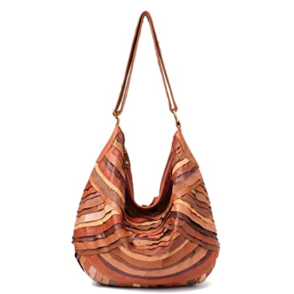 a05c521455 Amazon.com  Vintage Leather Women Patchwork Hobo Bag STEPHIECATH Soft  Casual Real Lamb Leather Sheep Skin Messenger Bag (TAN)  Musical Instruments