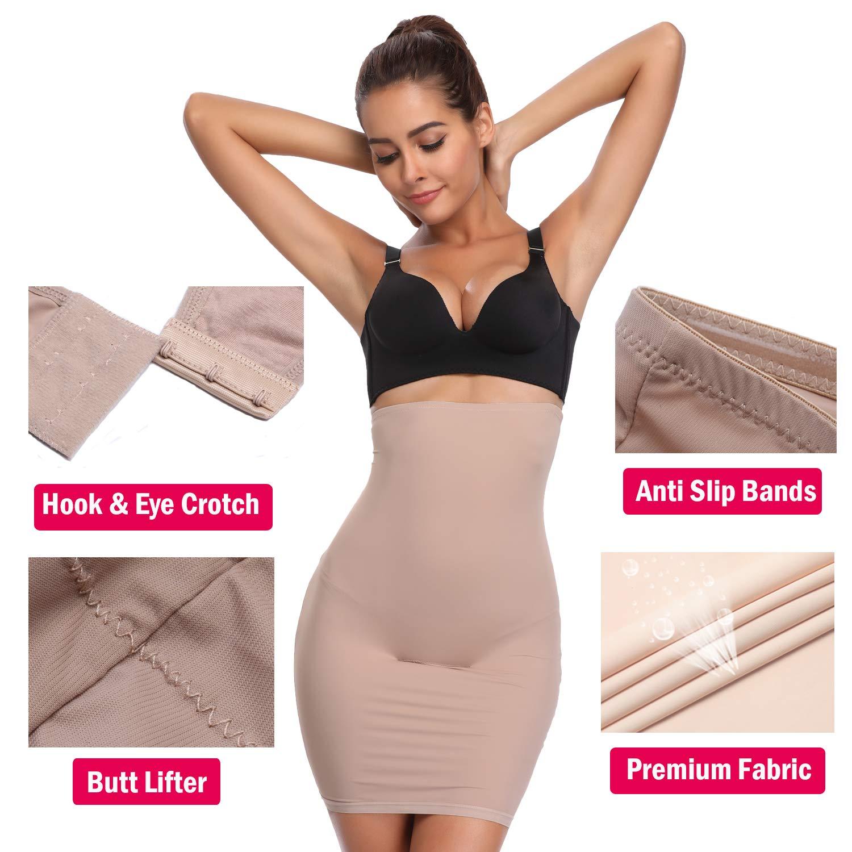 866ec62140 ... Slips Shapewear for Women Shaping Under Skirt Dress Slip High Waisted  Tummy Control Slimming Waist Cincher Trimmer Trainer Girdle Seamless Body  Shaper