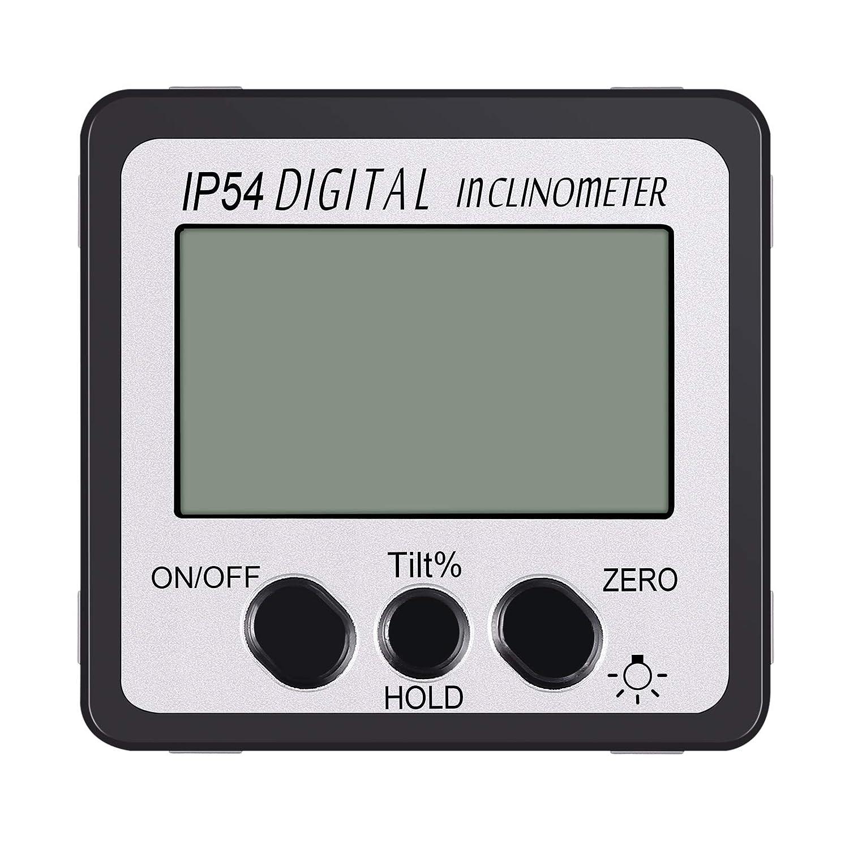 AUTOUTLET Inclinom/ètre num/érique Rapporteur de niveau 4x90 /° Angle de vis/ée Angle de r/étro-/éclairage vert jauge de niveau en biseau avec base magn/étique in//FT,mm//m Digital Inclinometer Protractor