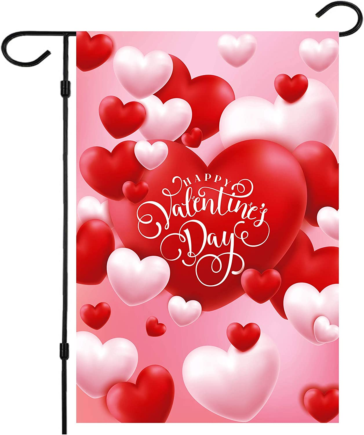 Valentine Flag, Double Sided Valentine's Day Flag Red and White Love Valentine Garden Flag 12 x 18 Inch Valentine House Flags for Valentine's Day Decoration