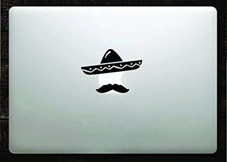 Sombrero and mustache decal sticker vinyl macbook apple logo 11