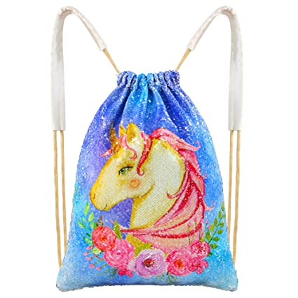 df13f1c343 ICOSY Mermaid Sequin Bag Magic Reversible Sequin Drawstring Backpack  Glitter Dance Bags Flip Sequins Backpack Bags Shining Sports Backpack for  Kids Adults ...