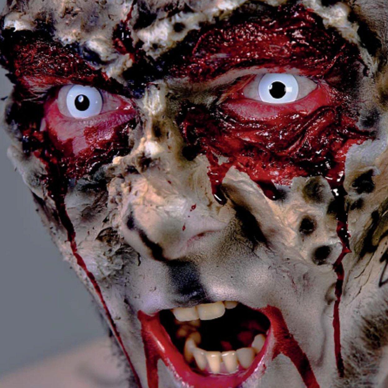 Halloween Zombie Schmink.Zombie Schmink Set Fur Fasching Halloween Mit Weissen Kontaktlinsen Latexmilch Kunstblut Horror Schminke Makeup Narbe Wunde Schminken