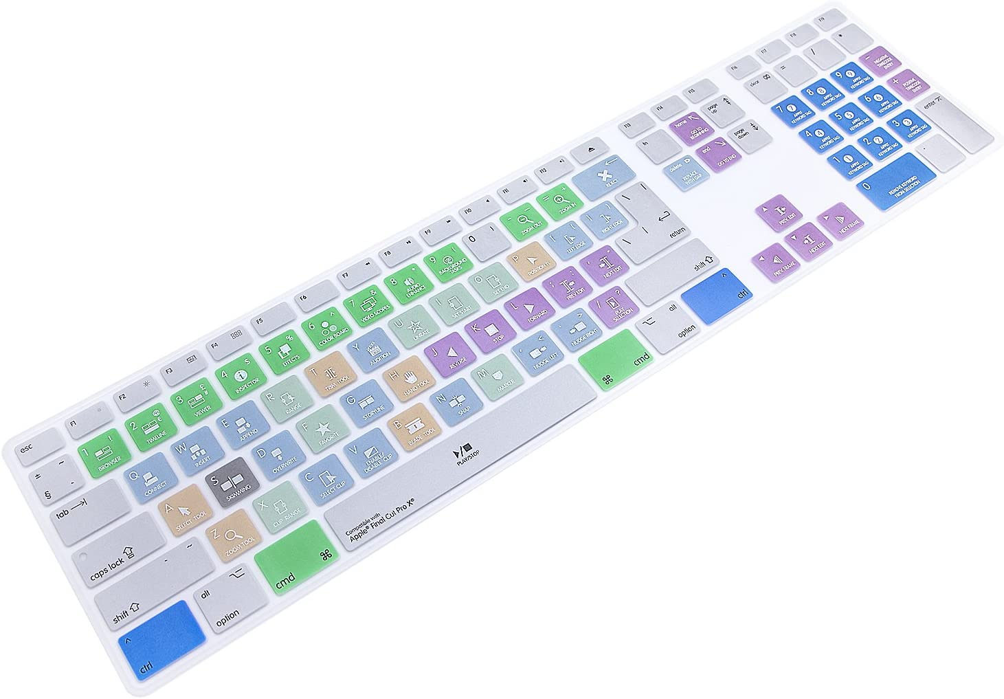 WYGCH Ultra Thin Shortcuts Extended Silicone Keyboard Protective Cover Skin for Apple Mac Aluminum Wired Keyboard MB110LL/B (A1243) Numeric Keypad (for Apple Final Cut pro X)