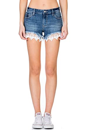 fbe9b6a0f6 Cello Jeans Mid Rise Crochet Shorts at Amazon Women's Clothing store: