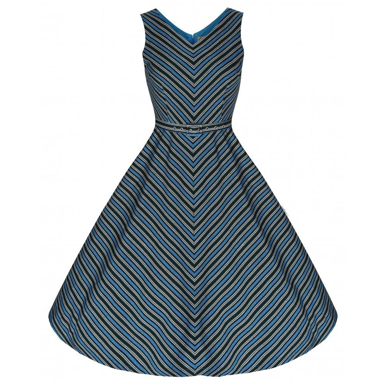 Lindy Bop 'Leena' Strikingly Bold Blue Weave Striped 50's Inspired Swing Dress