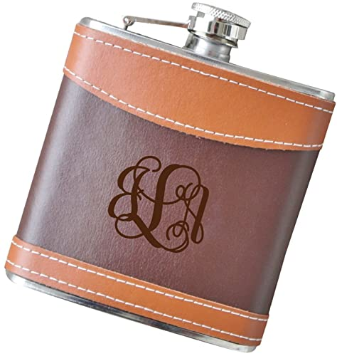 6 oz Script Monogram Flask, Genuine 2-Tone Leather Flask - F40.FSK128