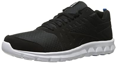 Reebok Men's Hexaffect Fire VTR MTM Running Shoe, Black/Blue Sport/White,