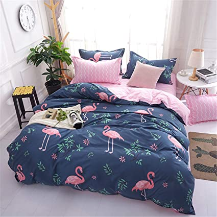 Copripiumino Matrimoniale Con Foto.Wongs Bedding 3 Pezzi Set Copripiumino Matrimoniale Tropical Flamingo Pattern Reversibile Copripiumino Matrimoniale Blu E Rosa Per Bambina Con 2