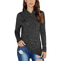KIRUNDO 2019 Winter Women's Long Sleeve Pullover Zipper Cowl Neck Tops Solid Sporty Sweatshirts(5 Colors,S-XXL)