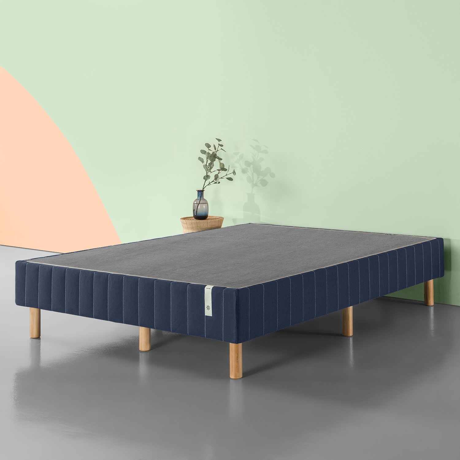 Zinus Justina Quick Snap Standing Mattress Foundation / Platform Bed / No Box Spring Needed / Navy, Twin by Zinus