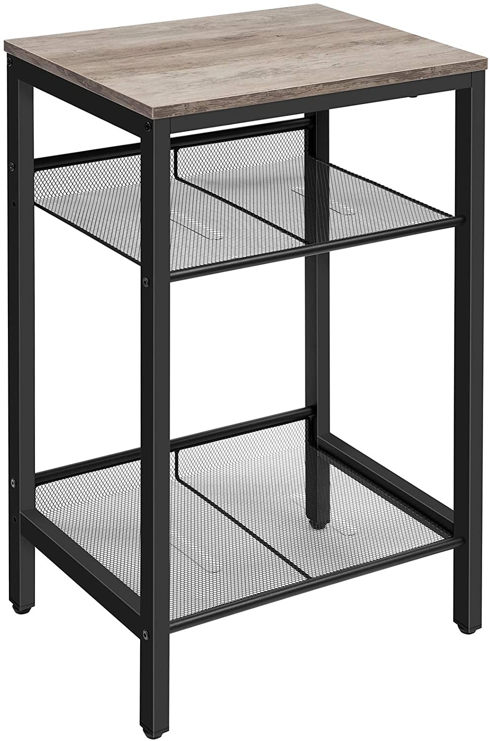 HOOBRO Side Table, Industrial End Telephone Table with Adjustable Mesh Shelves, for Office Hallway or Living Room, Wood Look Accent Furniture, Tall and Narrow, Easy Assembly, Greige and Black BG01DH01