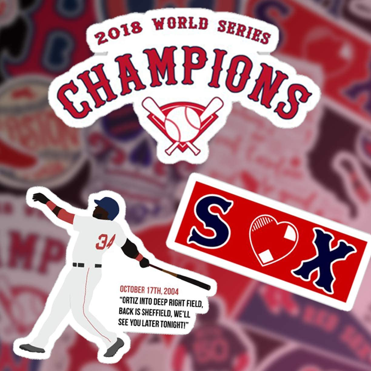 Stickers Pack Boston Aesthetic Red Vinyl Sox Stickers Set of 30 Decal 2 Colorful Waterproof for Laptop Sticker