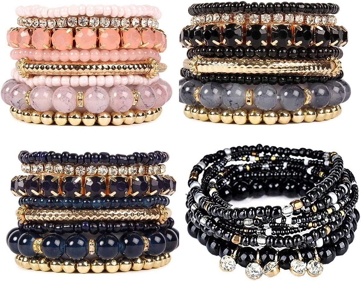 Set of 3 Stacked Bracelet Set Woman/'s Bracelet Set Beaded Bracelet Constance Stacking Bracelet Black and Pink Bracelet Set