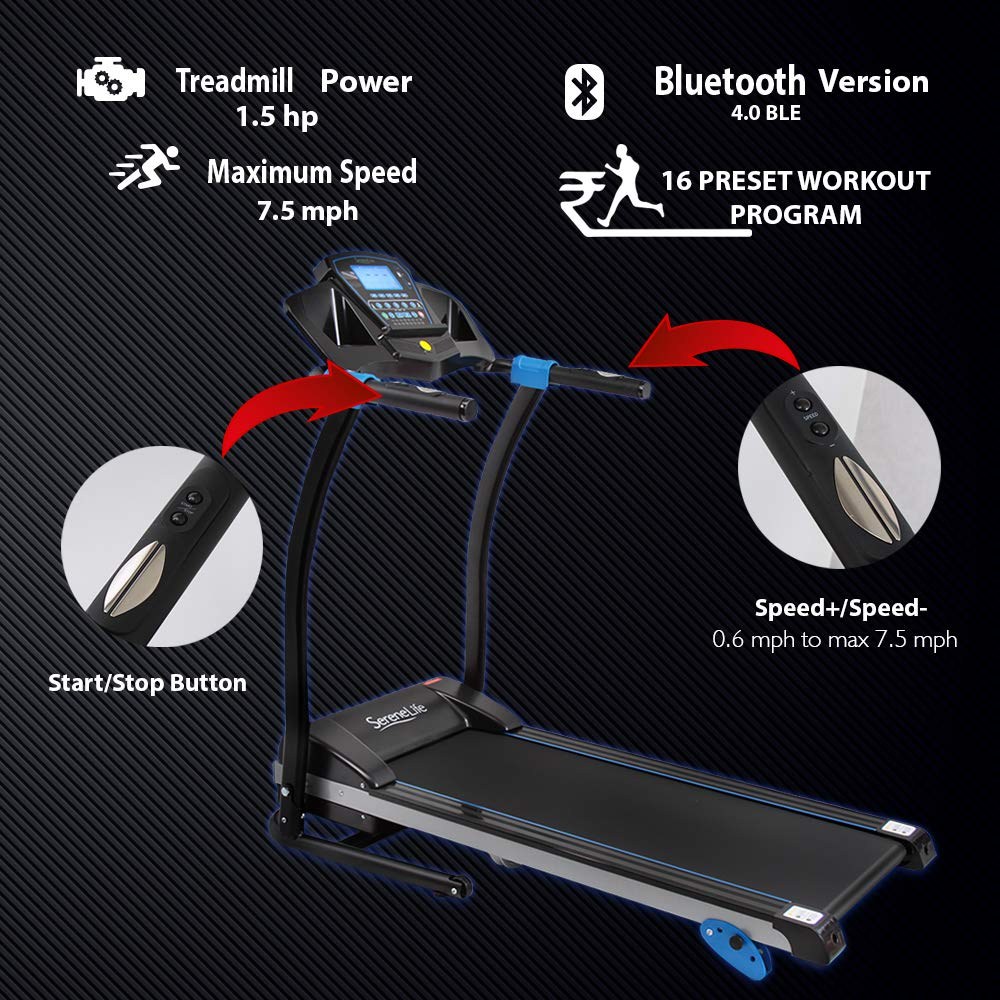 SereneLife Smart Digital Folding Treadmill - Electric Foldable Exercise Fitness Machine, Large Running Surface, 3 Incline Settings, 16 Preset Program, Downloadable Sports App for Running & Walking by SereneLife (Image #2)
