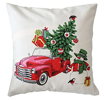 christmas tree and red car pillow coversmfgneh christmas home decor design throw pillow case - Amazon Christmas Home Decor