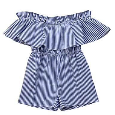 4fc1d8812795 Toddler Kids Girls Striped Off The Shoulder Romper Jumpsuit Outfits  Trousers Casual Ruffles Shorts Sunsuit Clothes