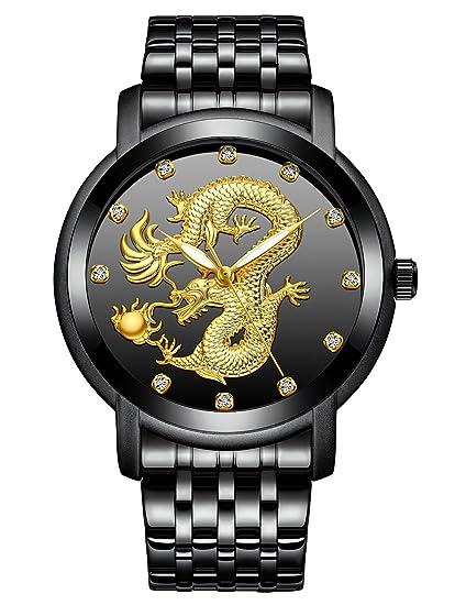 Relojes para Hombres Reloj Impermeable de Acero Inoxidable para Hombre Negro Relojes Analógicos de Cuarzo Diseño Unico Esfera del Dragón Chino Reloj Hombres ...