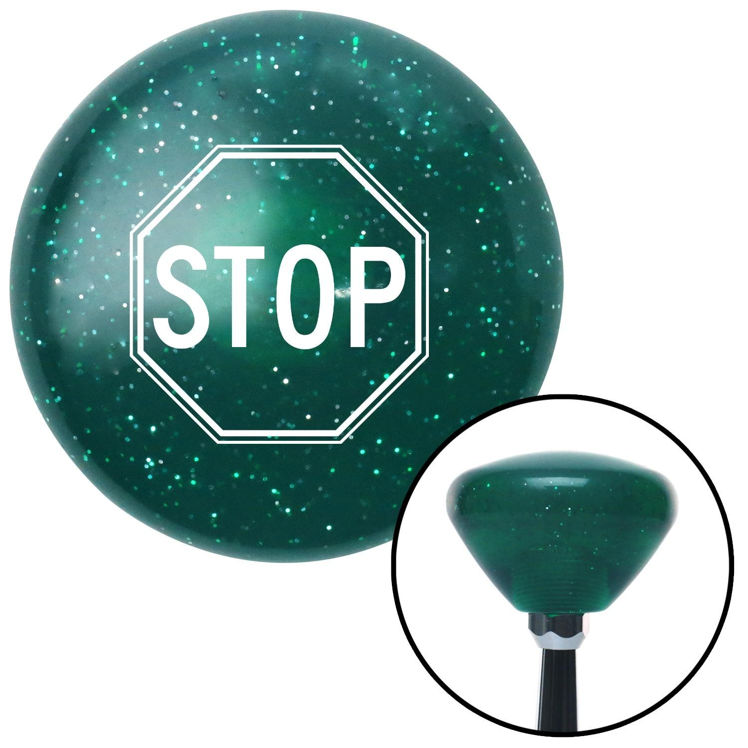White Stop Sign American Shifter 205605 Green Retro Metal Flake Shift Knob with M16 x 1.5 Insert