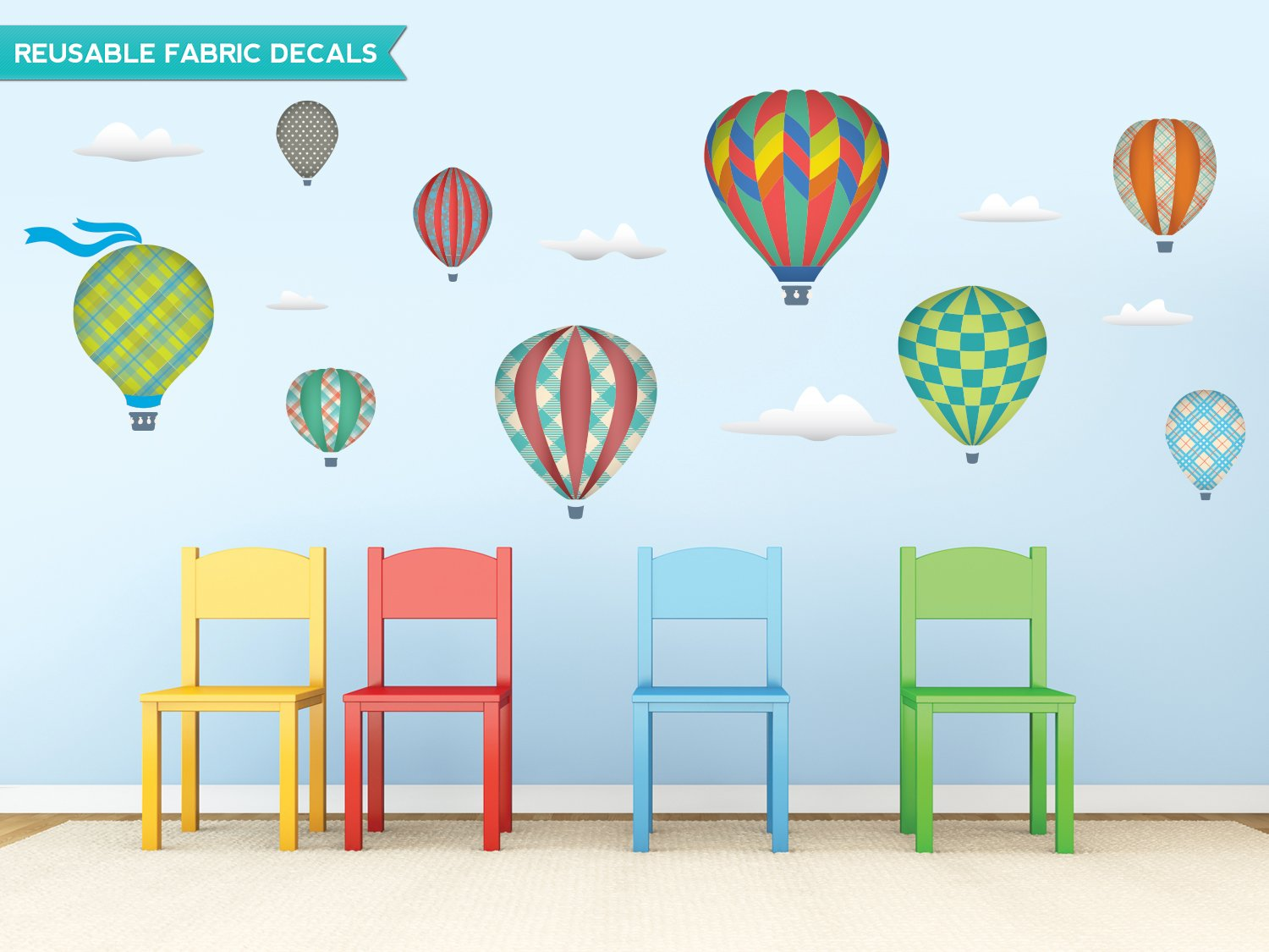Sunny Decals Hot Air Balloons and Clouds Fabric Wall Decals (Set of 9), Jumbo, Rainbow