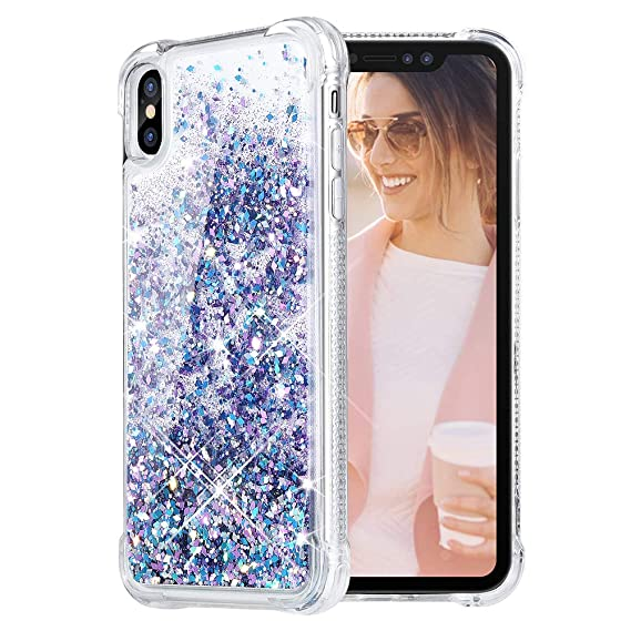 cheap for discount 761db 74f1b Caka iPhone XS Max Case, iPhone XS Max Glitter Case with Tempered Glass  Screen Protector Bling Flowing Floating Luxury Glitter Sparkle TPU Bumper  ...