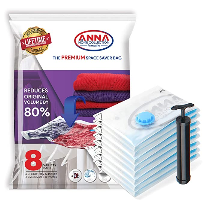 Anna Home Jumbo Vacuum Storage Bags (4 x Large, 4 x Medium) Space Saver Storage Bags for Travel. Durable and Reusable, Travel Hand Pump Included