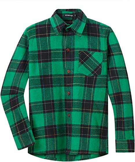 Spring/&Gege Boys Casual Long Sleeve Check Plaid Soft Sport Shirts