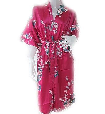 100% Thai Silk Robe- Asian Peacock Design- Scarlet Red Color at ... e73e25004