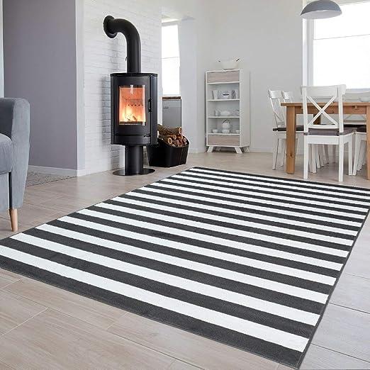 Tapiso Luxury Teppich Kurzflor Grau Weiss Modern Designer Geometrisch  Streifen Linien Muster Wohnzimmer Jugendzimmer ÖKOTEX 140 x 200 cm
