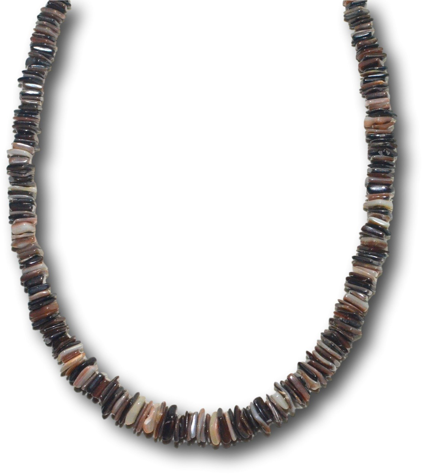 Native Treasure - 18'' Mixed Brown Chips Puka Shell Necklace