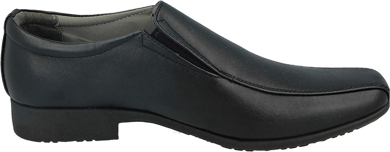 Mens Black Faux Leather PU Slip