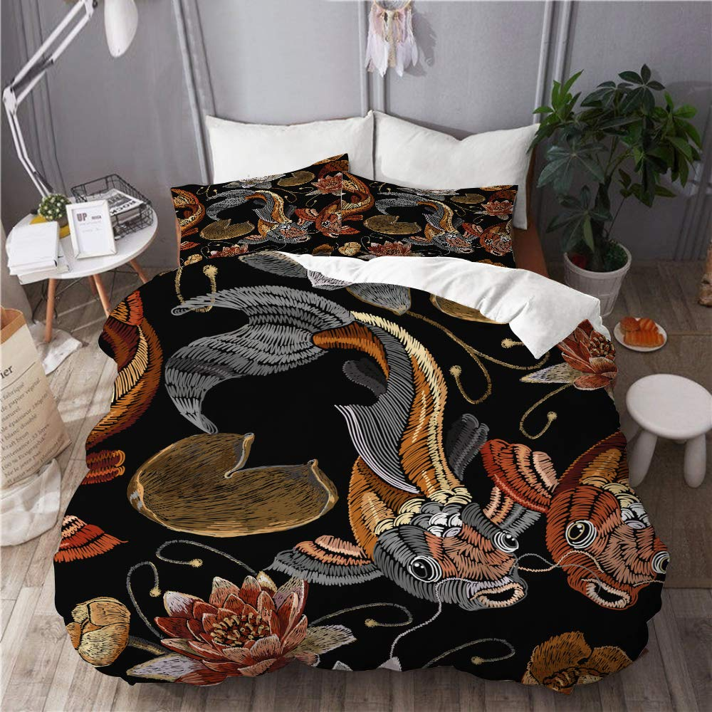 BOKEKANG Duvet Cover Set Full/Queen Size Embroidery Vintage koi Fish Water Lily Light Weight Bedding Set 1 Duvet Cover with 2 Pillowcases