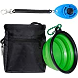 Zacro Dog Treat Training Pouch Bag with Adjustable Strap, One Training Clicker and One Food Water Bowl