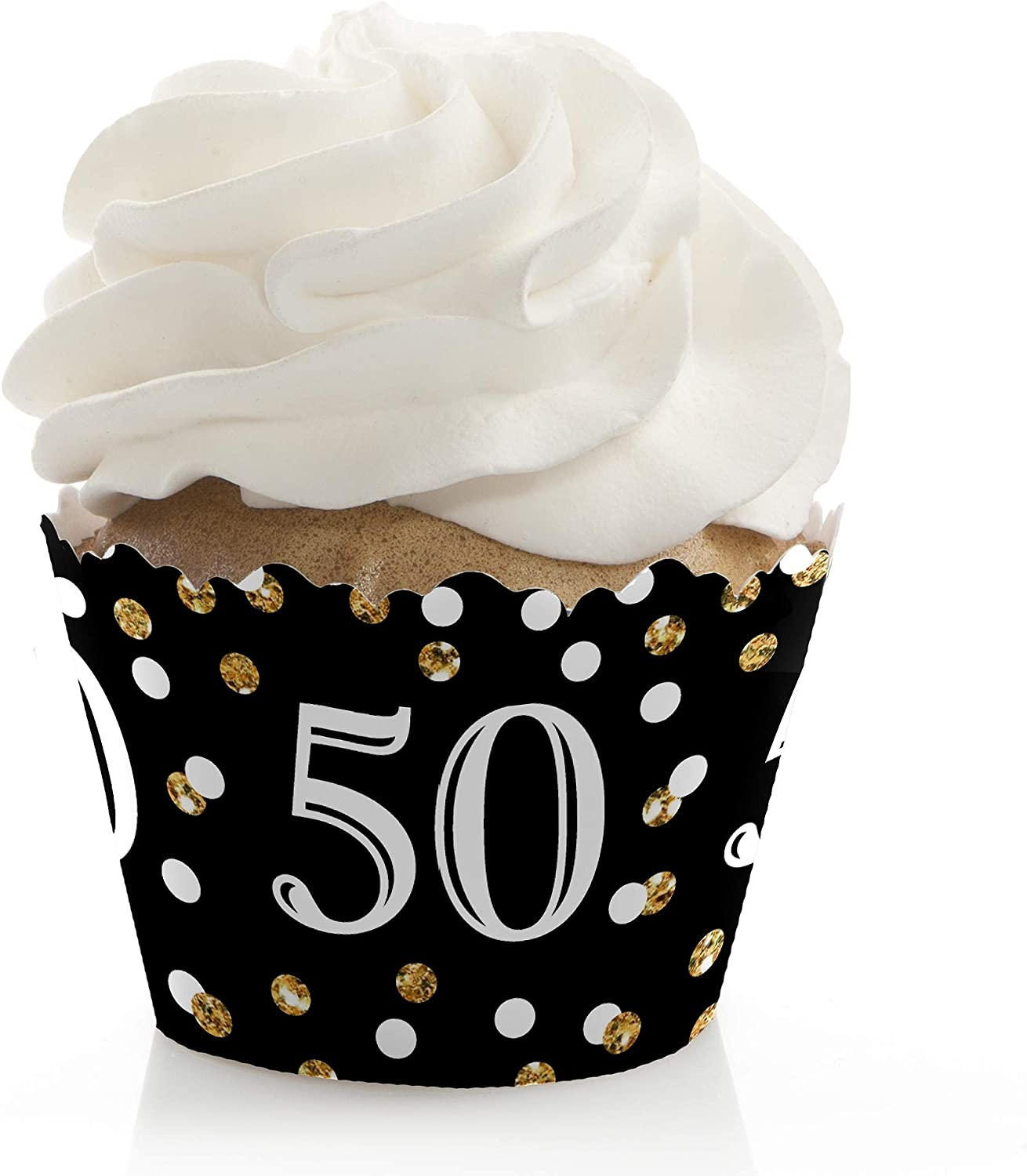 Adult 50th Birthday - Gold - Birthday Party Decorations - Party Cupcake Wrappers - Set of 12