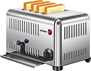 VEVOR Toaster 4 Slice Bread Toaster, 4 Slot Toaster with 2 Setting, Stainless Steel Toaster with Extra-Wide 1.1'' Slot, Bagel Toaster with Slide-Out Crumb Tray for Bread, Texas Toast, English Muffin
