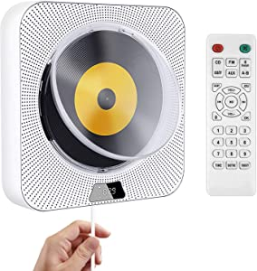 Portable CD Player with Bluetooth, Wall Mountable CD Music Player Home Audio Boombox with Remote Control, Dust Cover, FM Radio, Built-in HiFi Speakers, USB Port, AUX Input, Headphone Jack, LCD Display