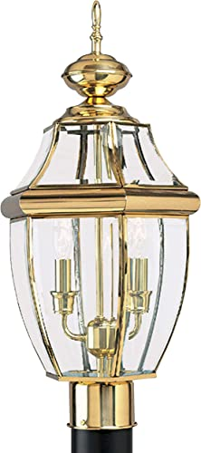Sea Gull Lighting 8229-02 Lancaster Two-Light Outdoor Post Lantern Outside Fixture, Polished Brass Finish