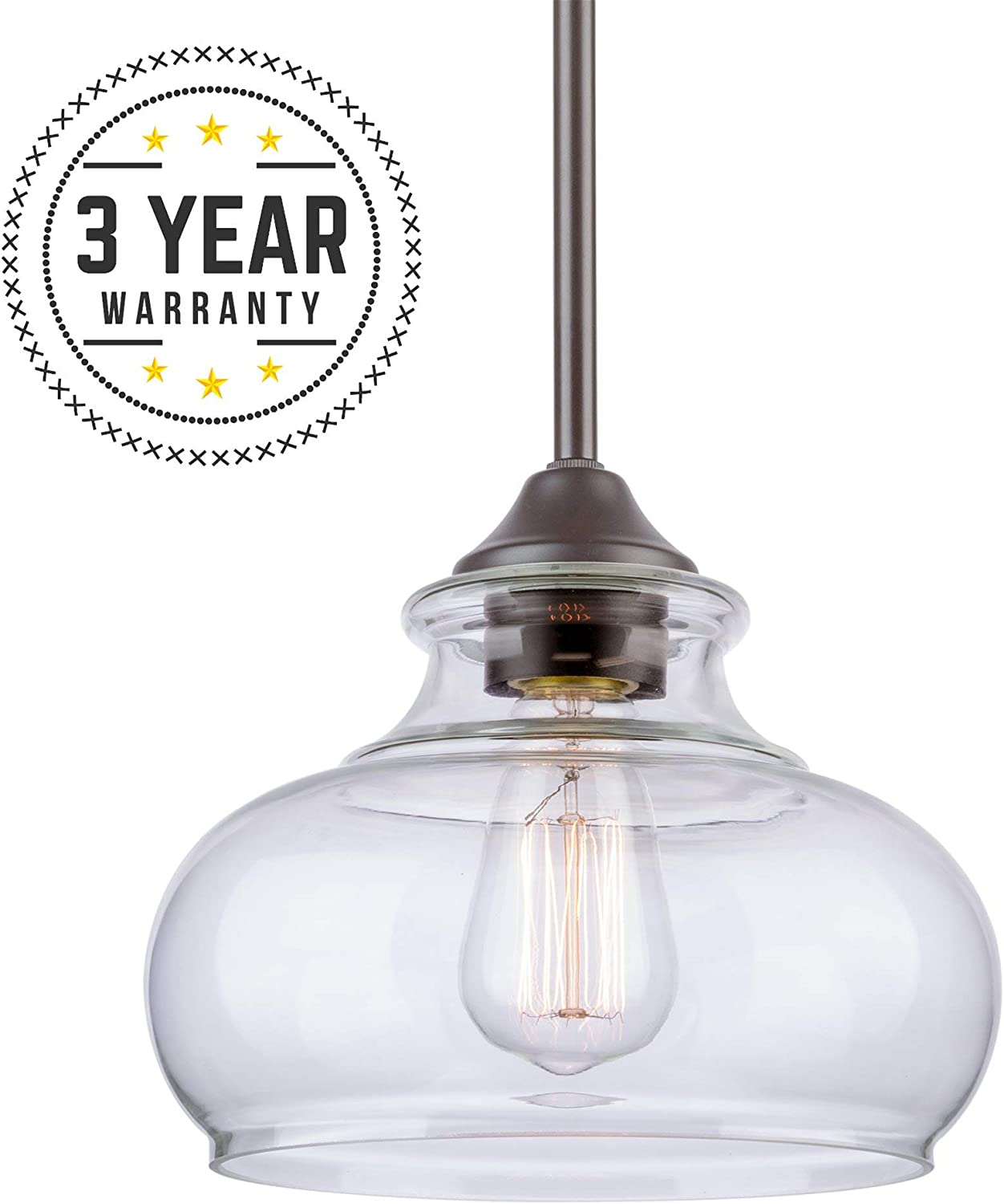 Kira Home Harlow 9 Modern Industrial Farmhouse Pendant Light with Clear Glass Shade, Adjustable Hanging Height, Oil Rubbed Bronze Finish