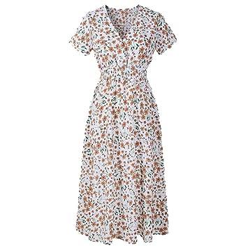 Vestido de gasa Boho para mujer, diseño floral con cuello en V, cintura elástica