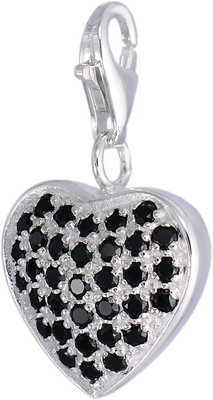 Charms MELINA cuore ciondolo Cubic Zirconia nero argento 925 1801729