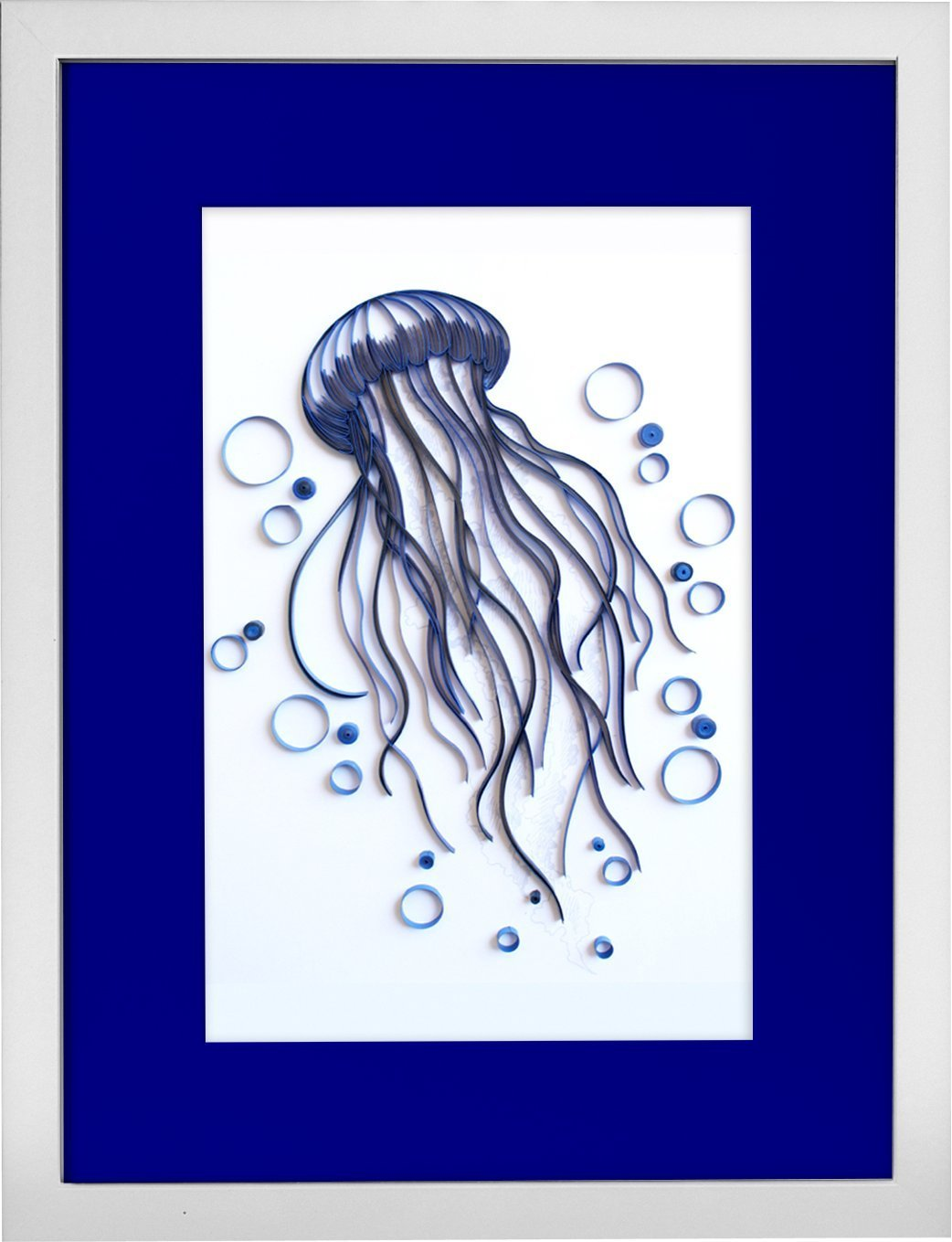 Jellyfish - Modern Paper Quilled Wall Art for Home Decor (one of a kind paper quilling handcrafted piece made with love by an artist in California)
